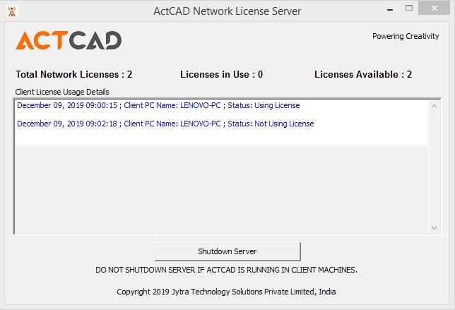 actcad server ip address
